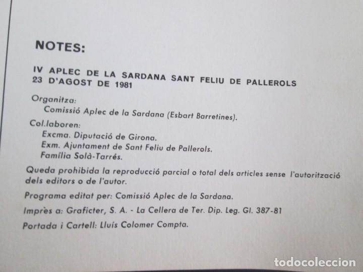 Coleccionismo Papel Varios: PROGRAMA SARDANISTA APLEC SAN FELIU DE PALLEROLS 23 AGOST 1981 - Foto 2 - 221795652