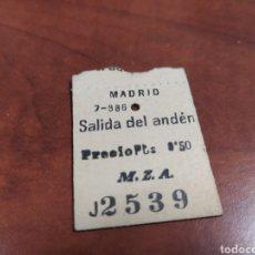 Coleccionismo Papel Varios: M.Z.A. BILLETE DE ANDÉN.., CURIOSO.. Lote 221867603