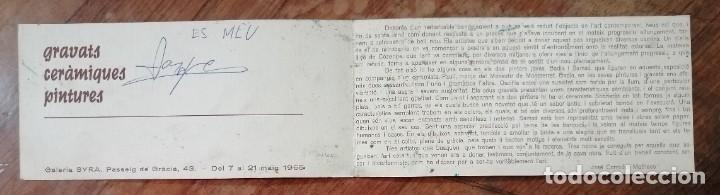 Coleccionismo Papel Varios: FOLLETO EXPOSICION GALERIA SYRA (Barcelona, 1965). BADIA-PAULI-SAMSO. PINTURA Y CERAMICA - Foto 2 - 221879836