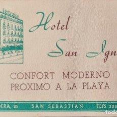 Coleccionismo Papel Varios: TARJETA VISITA HOTEL SAN IGNACIO DE SAN SEBASTIAN. Lote 221889587
