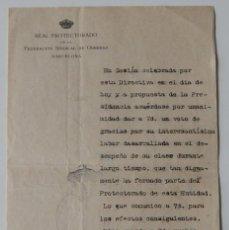 Coleccionismo Papel Varios: VOTO DE GRACIAS POR LABOR 1920 / REAL PROTECTORADO DE LA FEDERACIÓN SINDICAL DE OBRERAS BARCELONA. Lote 221926383