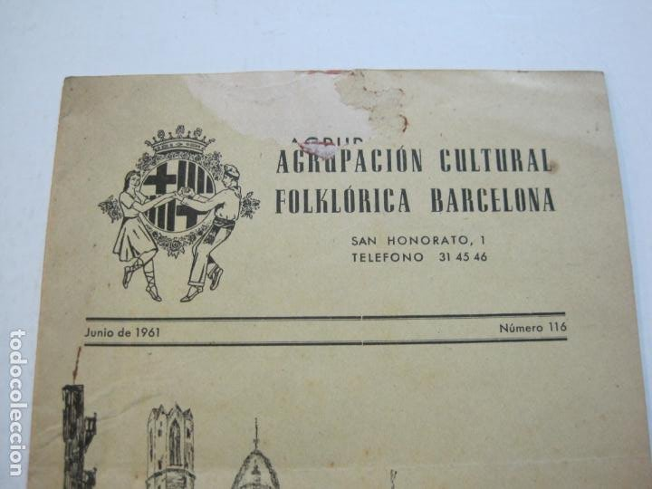 Coleccionismo Papel Varios: AGRUPACION CULTURAL FOLKLORICA BARCELONA-REVISTA ANTIGUA-Nº 161-JUNIO 1961-VER FOTOS-(K-800) - Foto 3 - 221951407