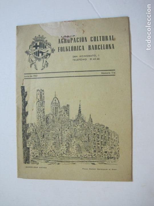 AGRUPACION CULTURAL FOLKLORICA BARCELONA-REVISTA ANTIGUA-Nº 161-JUNIO 1961-VER FOTOS-(K-800) (Coleccionismo en Papel - Varios)