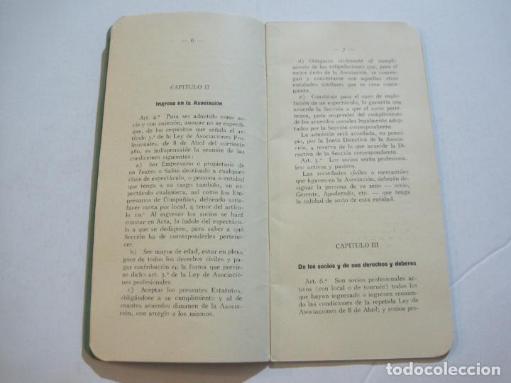 Coleccionismo Papel Varios: BARCELONA-ASOCIACION EMPRESARIOS ESPECTACULOS PUBLICOS DE CATALUÑA-ESTATUTOS 1932-VER FOTOS-(K-805) - Foto 8 - 221953112