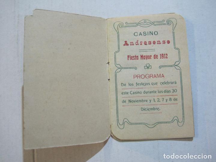 Coleccionismo Papel Varios: SAN ANDRES DEL PALOMAR-CASINO ANDRESENSE-FIESTA MAYOR 1912-PROGRAMA TROQUELADO-VER FOTOS-(74.953) - Foto 6 - 221957360