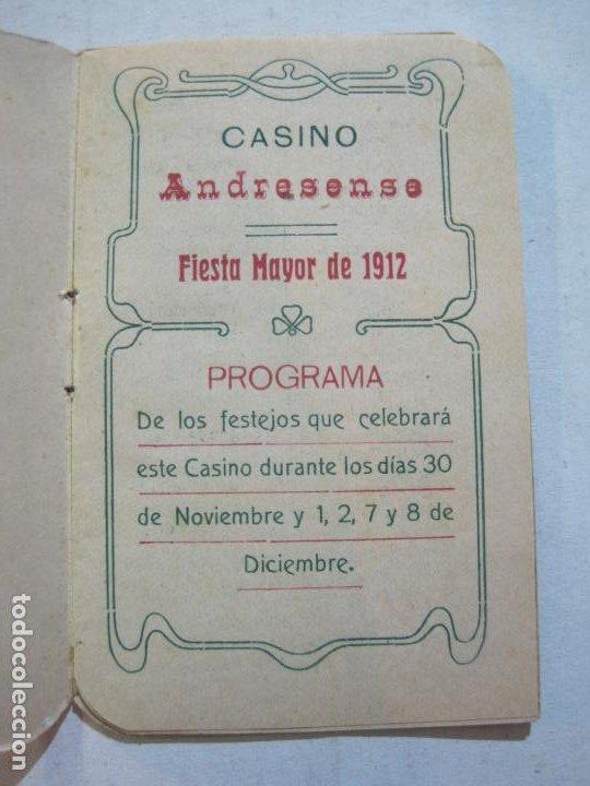 Coleccionismo Papel Varios: SAN ANDRES DEL PALOMAR-CASINO ANDRESENSE-FIESTA MAYOR 1912-PROGRAMA TROQUELADO-VER FOTOS-(74.953) - Foto 7 - 221957360