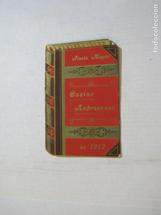 SAN ANDRES DEL PALOMAR-CASINO ANDRESENSE-FIESTA MAYOR 1912-PROGRAMA TROQUELADO-VER FOTOS-(74.953) (Coleccionismo en Papel - Varios)