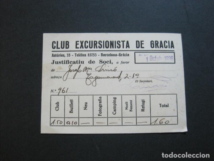 Coleccionismo Papel Varios: GUERRA CIVIL-BARCELONA-CLUB EXCURSIONISTA DE GRACIA-JUSTIFACTIU SOCI-OCTUBRE 1936-VER FOTOS-(74.960) - Foto 2 - 221959622