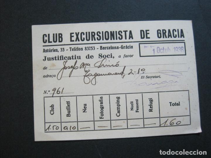 GUERRA CIVIL-BARCELONA-CLUB EXCURSIONISTA DE GRACIA-JUSTIFACTIU SOCI-OCTUBRE 1936-VER FOTOS-(74.960) (Coleccionismo en Papel - Varios)