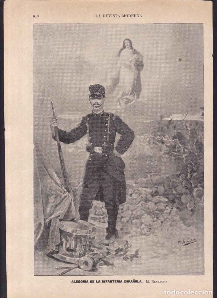 INFANTERIA ESPAÑOLA, ALEGORIA - LA REVISTA MODERNA 1897 (Coleccionismo en Papel - Varios)
