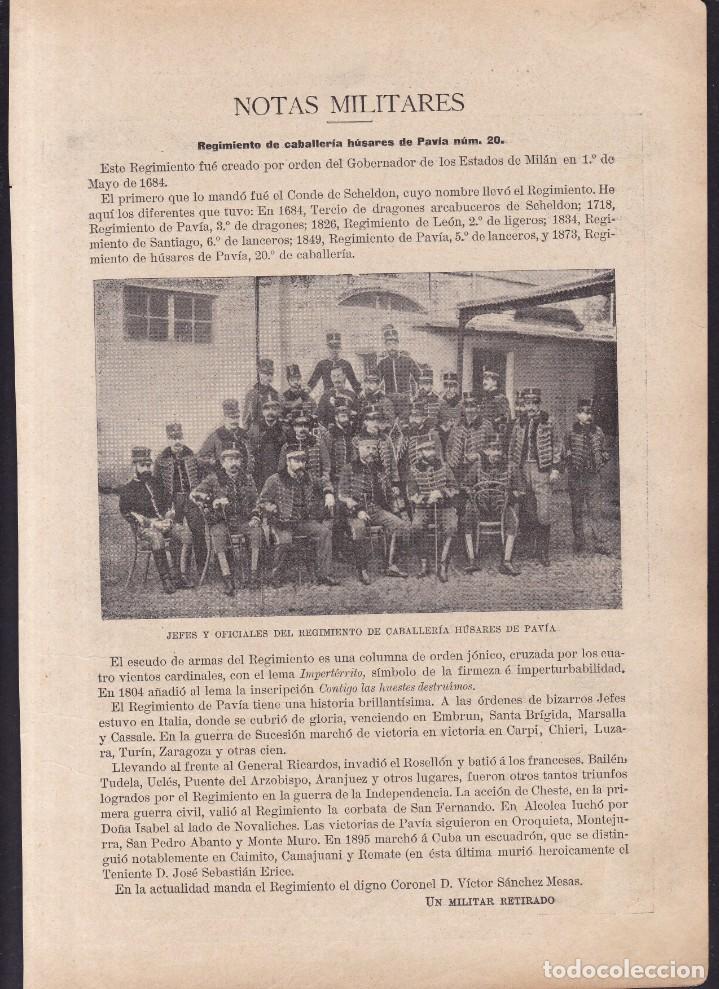 REGIMIENTO DE CABALLERIA HÚSARES DE PAVÍA Nº 20 - LA REVISTA MODERNA 1897 (Coleccionismo en Papel - Varios)