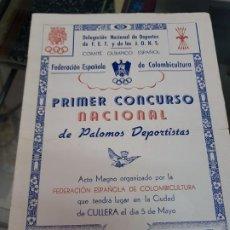 Coleccionismo Papel Varios: PRIMER CONCURSO NACIONAL PALOMOS COLOMBICULTURA FRANQUISMO CULLERA VALENCIA 1946. Lote 222418706