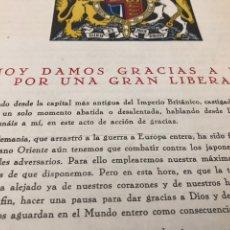 Coleccionismo Papel Varios: DOCUMENTO DEL DISCURSO DEL REY JORGE IV DEL FINAL DE GUERRA 1945. Lote 223357363