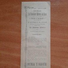 Coleccionismo Papel Varios: 1890 ? CARTEL SOCIEDAD FAMILIAR OBRERA - SANS, BARCELONA. Lote 223715623