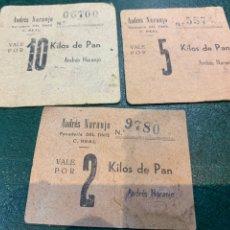 Coleccionismo Papel Varios: VALES (3) PANADERIA DEL TINTE - ANDRES NARANJO -. Lote 225039410