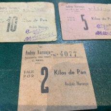Coleccionismo Papel Varios: VALES (3) PANADERIA EL TINTE - ANDRES NARANJO - CIUDAD REAL -. Lote 225040200