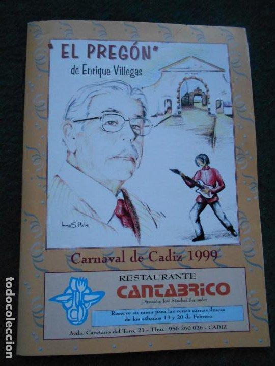 CARNAVAL DE CADIZ 1989 LIBRETO EL PREGON DE VILLEGAS (Coleccionismo en Papel - Varios)