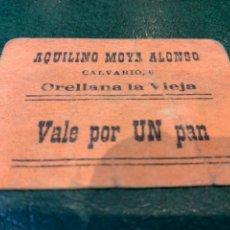 Coleccionismo Papel Varios: VALE PANADERIA AQUILINO MOYA ALONSO - ORELLANA LA VIEJA -. Lote 227562275
