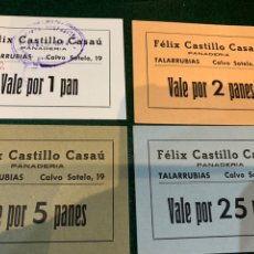 Coleccionismo Papel Varios: VALES (4) PANADERÍA FELIX CASTILLO CASAU - BADAJOZ -. Lote 227563135