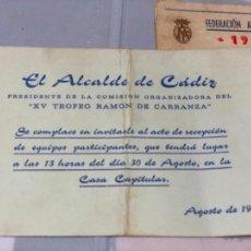 Coleccionismo Papel Varios: TARJETA DE INVITACION DEL ALCALDE DE CADIZ COM0 PRESIDENTE DE LA COMISION ORGANIZADORA DEL TROFEO. Lote 227591845