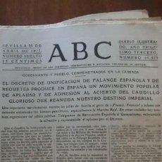 Collectionnisme Papier divers: FALANGE Y REQUETES ABC 21 DE ABRIL DE 1937.HOJAS SUELTAS UNIFICACION. Lote 227991235