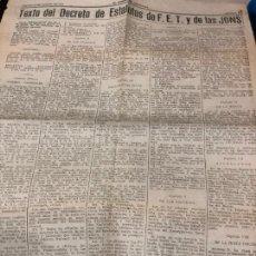 Coleccionismo Papel Varios: EL CORREO DE ANDALUCIA-TEXTO DEL DECRETODE ESTATUTOS DE F.E.T. Y DE LAS JONS. Lote 228164110