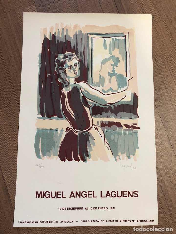 CARTEL DE LA EXPOSICIÓN DE MIGUEL ÁNGEL LAGUENS 1987 ZARAGOZA (49,5X31,5M) (Coleccionismo en Papel - Varios)