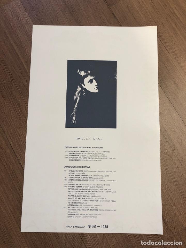 Coleccionismo Papel Varios: Cartel de la exposición de MILUCA SANZ ZARAGOZA 1988 (49,5x31,5cm) - Foto 2 - 228279300