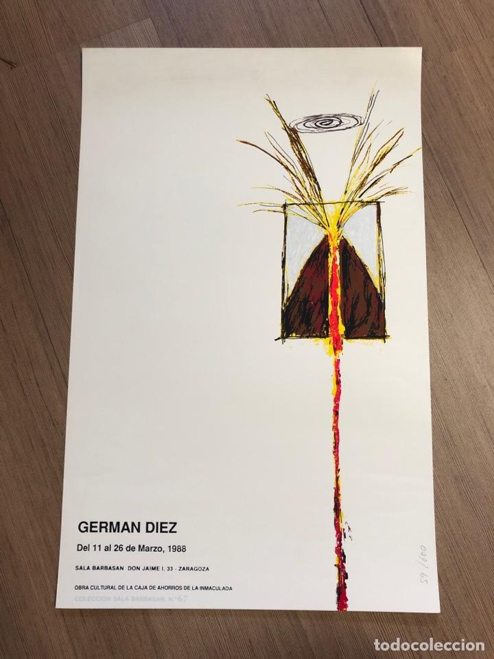 CARTEL DE LA EXPOSICIÓN DE GERMAN DIEZ ZARAGOZA 1988 (49,5X31,5CM) (Coleccionismo en Papel - Varios)