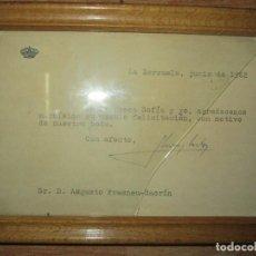 Coleccionismo Papel Varios: FIRMA MANUSCRITA CARTA DEL REY JUAN CARLOS BORBON Y SOFIA DE ZARZUELA 1962 A ESCRITOR DE ALICANTE. Lote 228853110