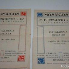 Coleccionismo Papel Varios: MOSAICOS ESCOFET, 2 PANPLETOS, DE SEPTIEMBRE DE 1929.. Lote 229240820