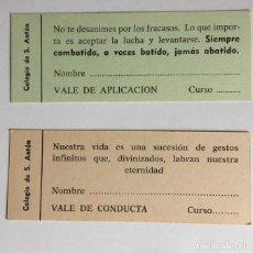 Coleccionismo Papel Varios: 2 VALES HISTÓRICOS: COLEGIO SAN ANTÓN (ESCUELAS PÍAS, MADRID, 1972-74) ¡ORIGINALES! COLECCIONISTA. Lote 230015935