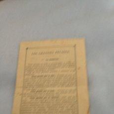 Coleccionismo Papel Varios: ANTIGUA HOJA RELIGIOSA-LOS GRANDES PECADOS- EL MENSAJERO , RAYOS DE SOL,EDITORIAL.ELEXPURU.AÑO 1928. Lote 231481580
