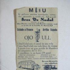 Coleccionismo Papel Varios: SEÑORES DE NADAL-SELLOS DE GOMA-MENU ANTIGUO-JULIO 1939-VER FOTOS-(K-1466). Lote 232213555