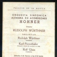 Outros artigos de papel: *ORQUESTA ACORDEONES HOHNER* PALAU MÚSICA CATALANA, BARCELONA. DÍPTICO. MEDS. 136X168 MMS.. Lote 233282150