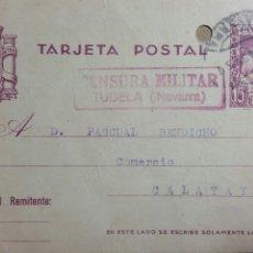 Altri oggetti di carta: TARJETA POSTAL CENSURA MILITAR DE TUDELA AÑO 1938. Lote 234137145