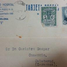 Coleccionismo Papel Varios: TARJETA POSTAL DE BARCELONA A CALATAYUD. Lote 234142735