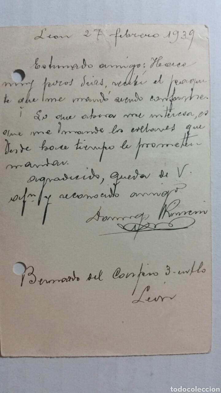 Coleccionismo Papel Varios: Tarjeta postal censura militar de LEÓN año 1939 - Foto 3 - 234412780