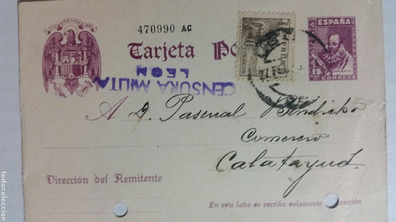 TARJETA POSTAL CENSURA MILITAR DE LEÓN AÑO 1939 (Coleccionismo en Papel - Varios)