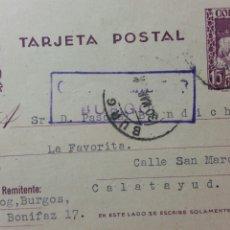 Coleccionismo Papel Varios: TARJETA POSTAL CENSURA MILITAR DE BURGOS AÑO 1938. Lote 234412900