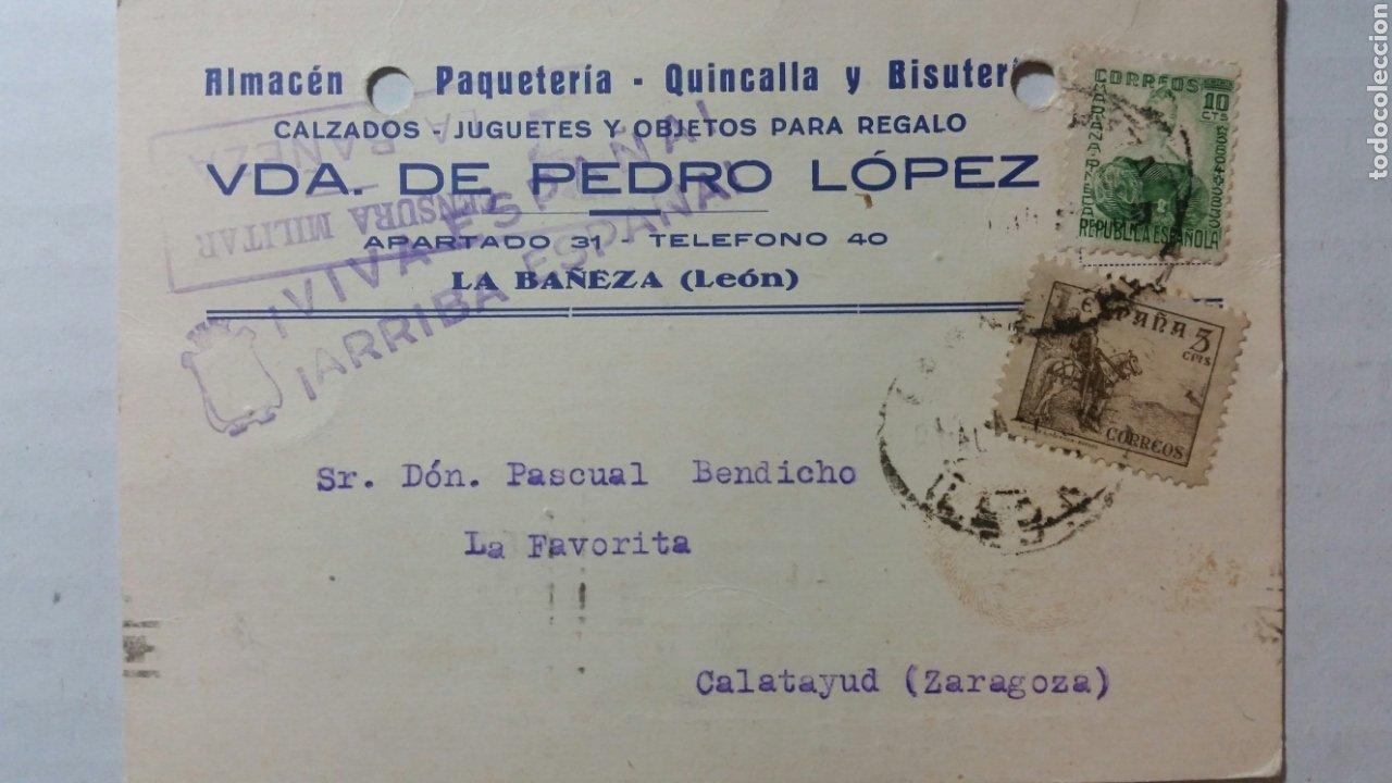TARJETA POSTAL CENSURA MILITAR DE LA BAÑEZA LEON ESCASA (Coleccionismo en Papel - Varios)