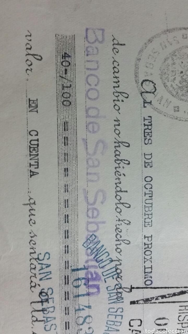 Coleccionismo Papel Varios: Letra de cambio de la república 0.20 pts timbre San Sebastián Banco de san Sebastián año 1935 - Foto 4 - 234414470