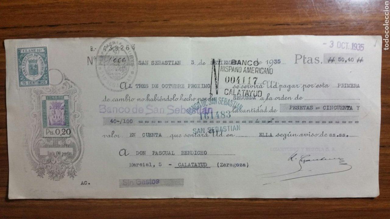 LETRA DE CAMBIO DE LA REPÚBLICA 0.20 PTS TIMBRE SAN SEBASTIÁN BANCO DE SAN SEBASTIÁN AÑO 1935 (Coleccionismo en Papel - Varios)