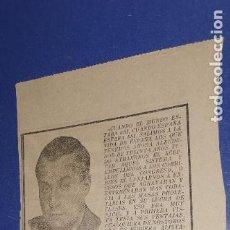 Coleccionismo Papel Varios: RECORTE DIARIO LEVANTE 19 JULIO 1939 DISCURSO DE JOSE ANTONIO 4 MARZO 1934. Lote 236236530