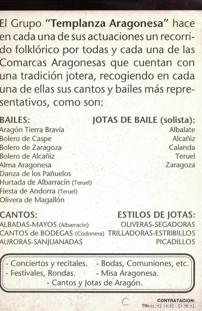 Coleccionismo Papel Varios: Templanza Aragonesa. / Tarjeta presentación - Foto 2 - 236510015