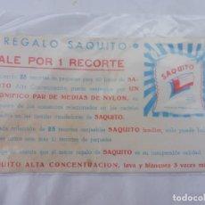 Coleccionismo Papel Varios: VALE SAQUITO PARA CANJEAR UN PAR DE MEDIAS DE NYLON JABONERÍAS PERSÁN, SEVILLA. Lote 237562880