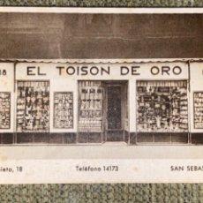 Coleccionismo Papel Varios: ANTIGUA TARJETA PUBLICIDAD EL TOISON DE ORO BAZAR SAN SEBASTIÁN. Lote 237576160