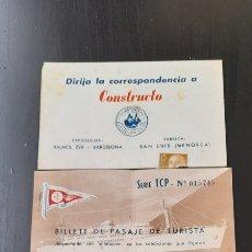 Collectionnisme Papier divers: CONSTRUCTO MINIATURA NAVAL Y BILLETE DE PASAJE DE TURISTA COMPANIA TRASMEDITERANA. Lote 239414730