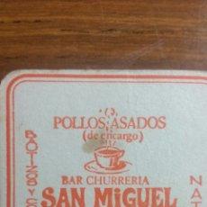 Coleccionismo Papel Varios: ZARAGOZA POSAVASOS BAR CHURRERIA SAN MIGUEL. Lote 239730755