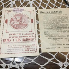 Outros artigos de papel: ANTIGUO PROSPECTO / FOLLETO DEL RATICIDA MIAU EXTERMINADOR RATAS Y RATONES AÑOS 20-30. Lote 241114220